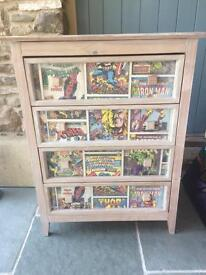 Marvel bedroom drawers, rug, wall canvas'
