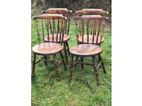 Four antique vintage elm dining chairs