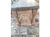 Heavy solid thick waxed pine coffee table.