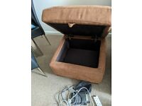 Recliner 3 Seater Sofa with Storage Foot Stool
