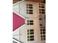 Vintage large dolls house with garden