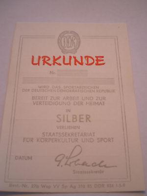 Urkunde: Sportabzeichen  Silber