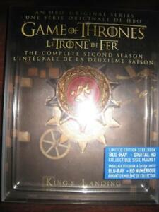 Game of Thrones: Season 2 Steelbook Blu Ray DVD with Collectible Sigil Magnet. George R. R Martin. Fantasy Drama Set