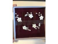 Mother of pearl flower hair pins Brand New