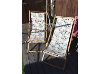 2 recovered vintage style traditional wooden deck chairs