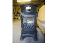 3 KW CAST IRON PROVENCE PORTABLE CALOR GAS HEATER/STOVE WITH GAS BOTTLE.