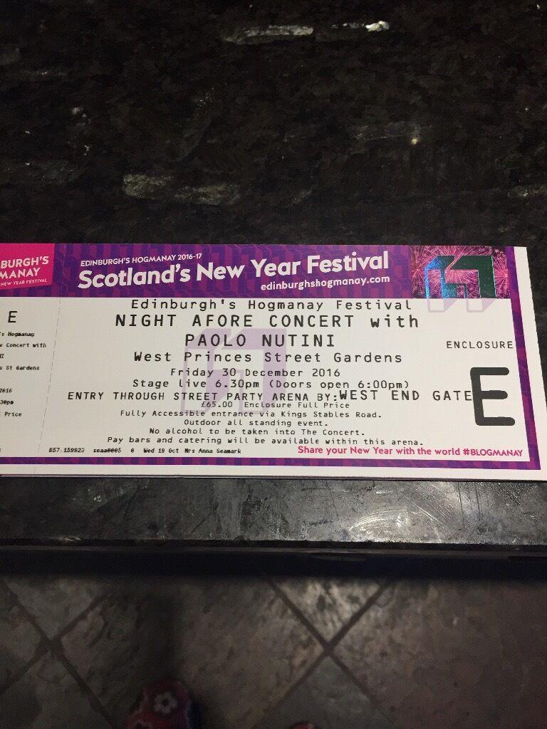 4 Paolo Nutini tickets - Night Afore Concert. Edinburgh
