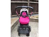 Oyster 2 buggy, buggy board and pink foot muffs