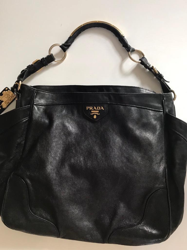 c873b821953a Authentic Prada Tote Shoulder Bag Black Leather Grace Calf
