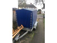 Blue car trailer