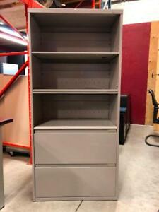 Steelcase 2 Drawer with Attached Bookcase - $175
