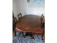 Dining Table + 4 Chairs (Solid Wood - Extendable)