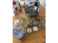 Kitchen Craft Stainless Steel 9L Maslin Jam Marmalade Preserving Pan + 18 Jars