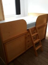 Childrens cabin bed, wardrobe, desk and bookcase excellent condition