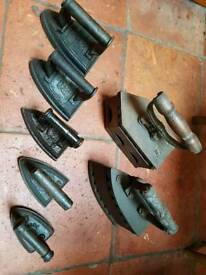 Set of antique flat and charcoal irons