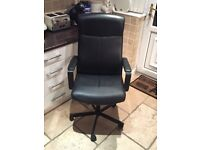 Leather black computer chair with armrests