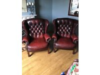 x2 Wing Back Leather Chairs