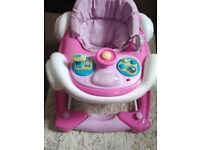 Pink car baby walker can be a rocker too