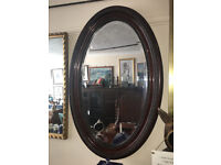 Striking Antique Victorian Oval Carved Mahogany Framed Decorative Bevel Mirror