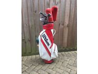WILSON GOLF BAG, FULL SET OF CLUBS + EXTRAS