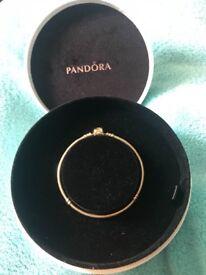 GENUINE 14kt gold Pandora bracelet 18cms