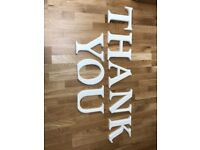 THANK YOU white painted stand-up letters - great for wedding cards