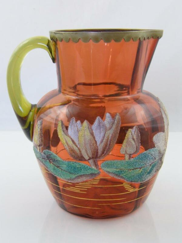 C.1900 CORALINE LILLY AMBER GLASS JUG