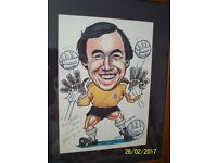 LARGE GORDON BANKS CARICATURE PICTURE SIGNED