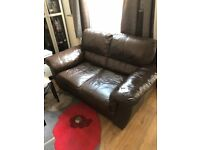 2 and 3 seater genuine leather sofas brown
