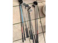 Set of 10 golf clubs