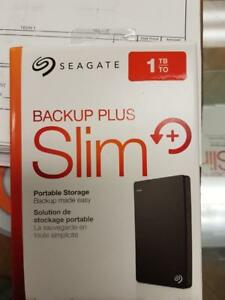 Seagate Backup Plus Slim 1TB Portable External Hard Drive USB 3.0, Silver (STDR1000101)