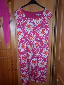 L K Bennett - London UK Size 16 Cerise Pink knee length dress with accessories