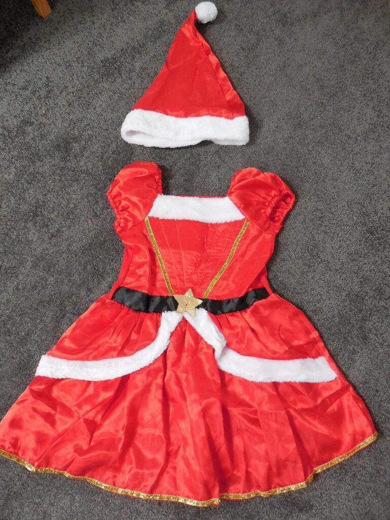 Girl's Christmas Dress & hat 3-4 years, never worn