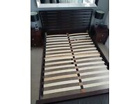 Dark wood double contempory bed