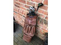 Vintage golf clubs and bag