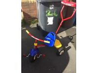 Child's trike - peddle or push along