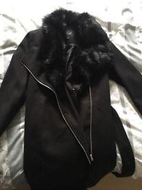 Black maternity coat size 14