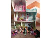 Barbie doll house with dolls and accessories!