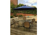 Patio table, 4 chairs, umbrella and stand
