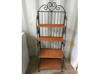 REDUCED IN PRICE Four shelf wicker and metal bookcase / shelving unit / display stand / plant stand