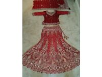 ***Bespoke real crystal embellished lengha top/skirt/scarf. Pristine condition!!***