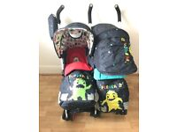 Brand new double strollers, used only for a week, raincover and all accessories included!