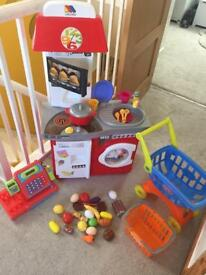 Toy Kitchen/ shopping bundle