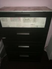 Black ikea 4 draw bedroom unit