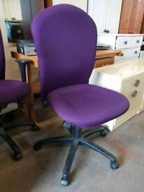 Armless purple high back chairs