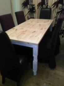 LARGE CHUNKY STRIPPED PINE DINING TABLE, WITH SIX SKIRTED DINING CHAIRS