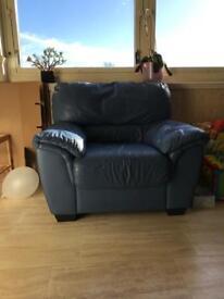 Blue leather one seat sofa