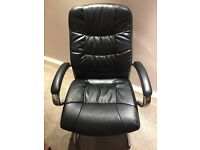 Office Chair - Black Leather effect (Sturdy)