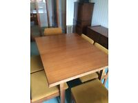 Mid century modern, Danish inspired Dining table, 6 Chairs and matching sideboard