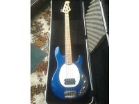 METALLIC ROYAL BLUE BASS GUITAR ACTIVE 4 STRING MUSICMAN STINGRAY 2 BAND EQ WITH HARD CASE